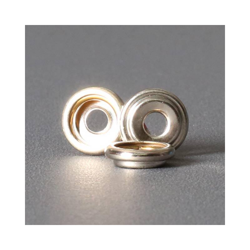 Ringfeder-Druckknopf 15mm - Ringfeder für Kappe vernickelt