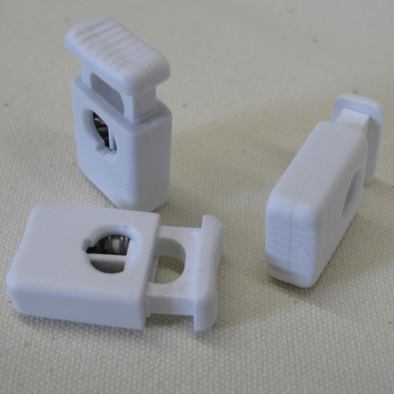 Kordelstopper mit Doppelfeder für 2x4mm Seil weiß