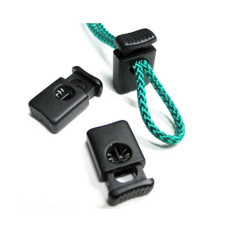 Kordelstopper mit Doppelfeder für 2x4mm Seil schwarz